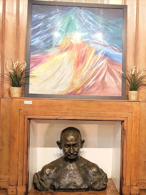 Gandhi's statue & artwork by service users